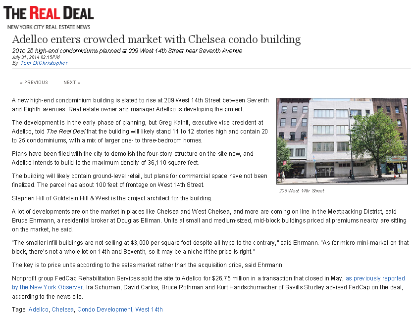ADELLCO ENTERS CROWDED MARKET WITH CHELSEA CONDO BUILDING