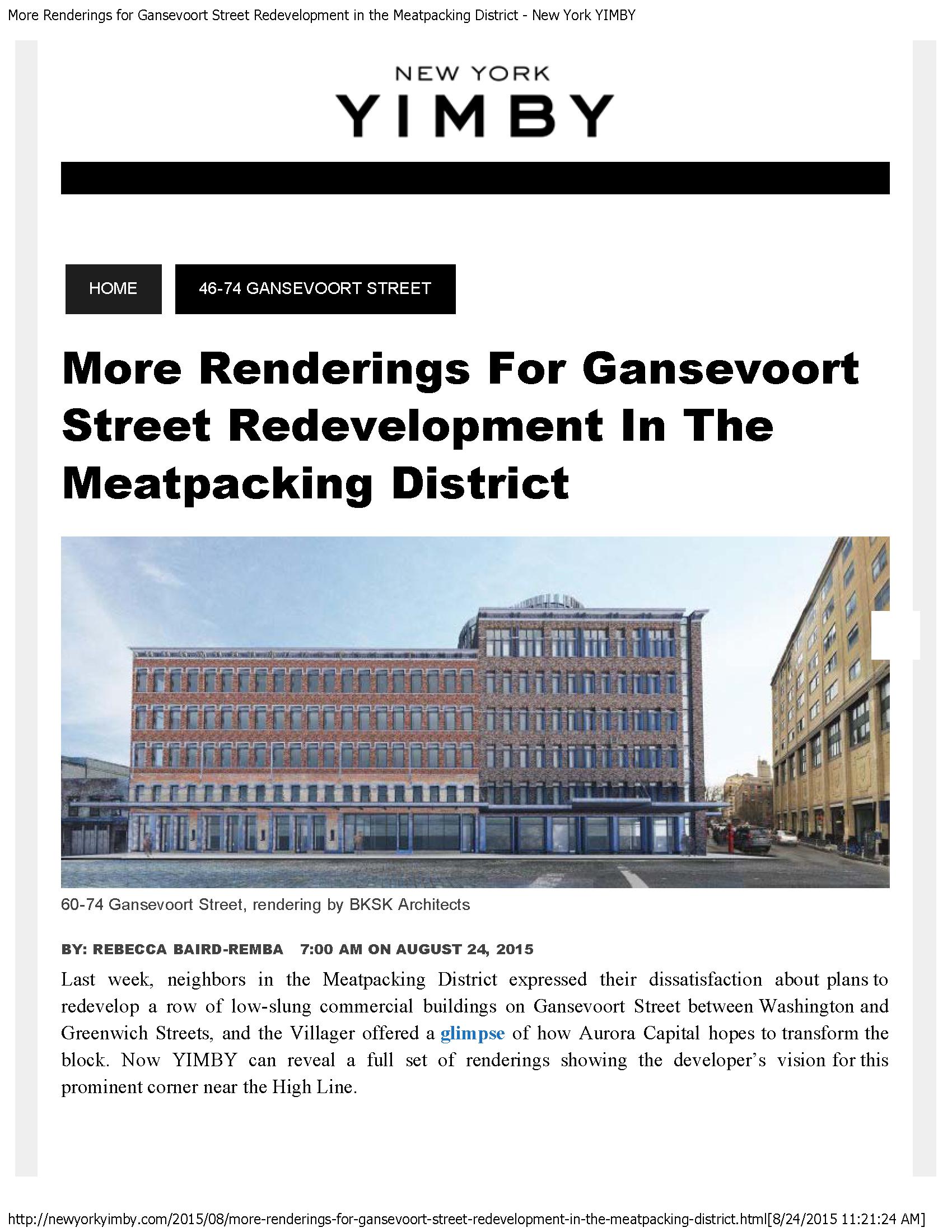 MORE RENDERINGS FOR GANSEVOORT STREET REDEVELOPMENT IN THE MEATPACKING DISTRICT