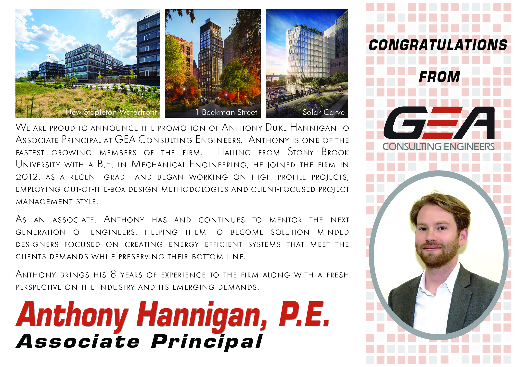 GEA Announcement:  Anthony Hannigan Promoted to Associate Principal